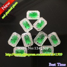 Exquisite 200PCS New Promotion 10x14mm Sew-On Green Rectangle shape Acrylic  Resin 2 Holes Garment 5253be256eaa