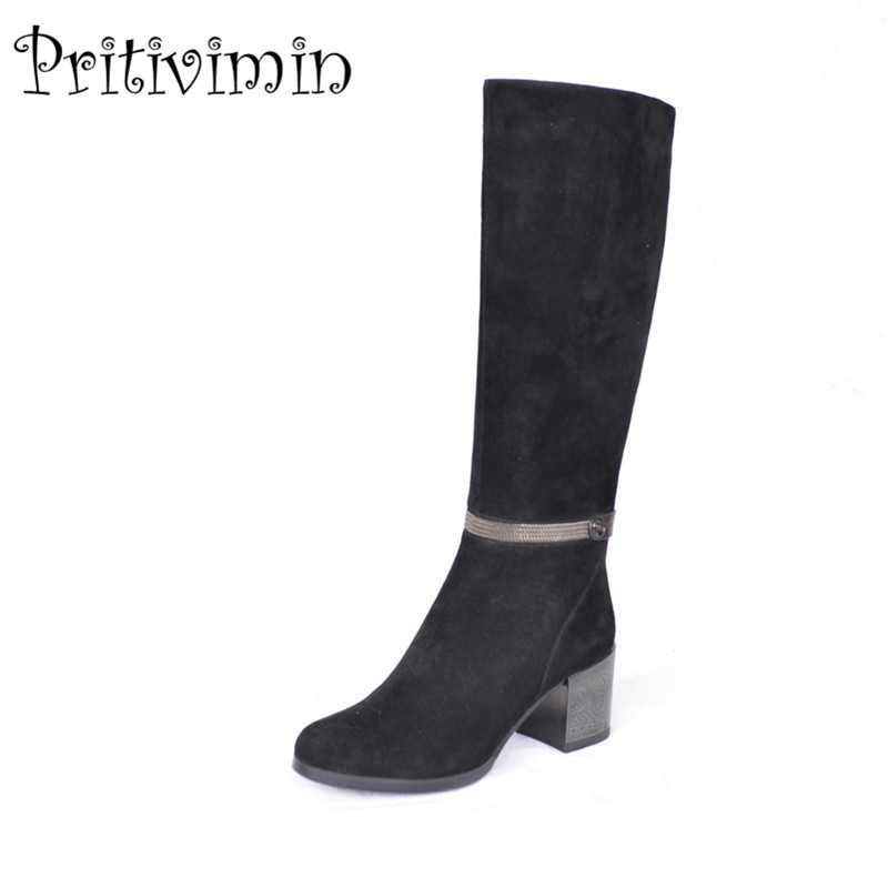 2018 Fashion woman thick high heeled long boots girls winter warm lined shoe Ladies genuine leather footwear Pritivimin FN58