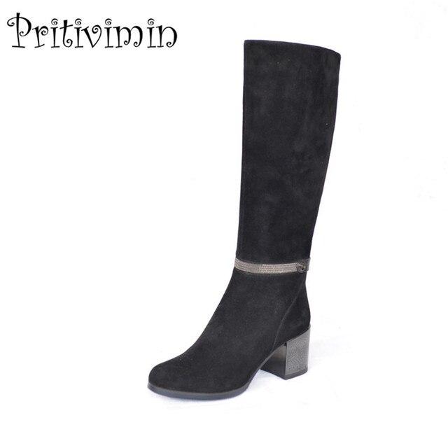 03f032818f73f 2018 moda kobieta gruba na wysokim obcasie długie buty dziewczyny zima  ciepłe pokryte buty damskie oryginalne