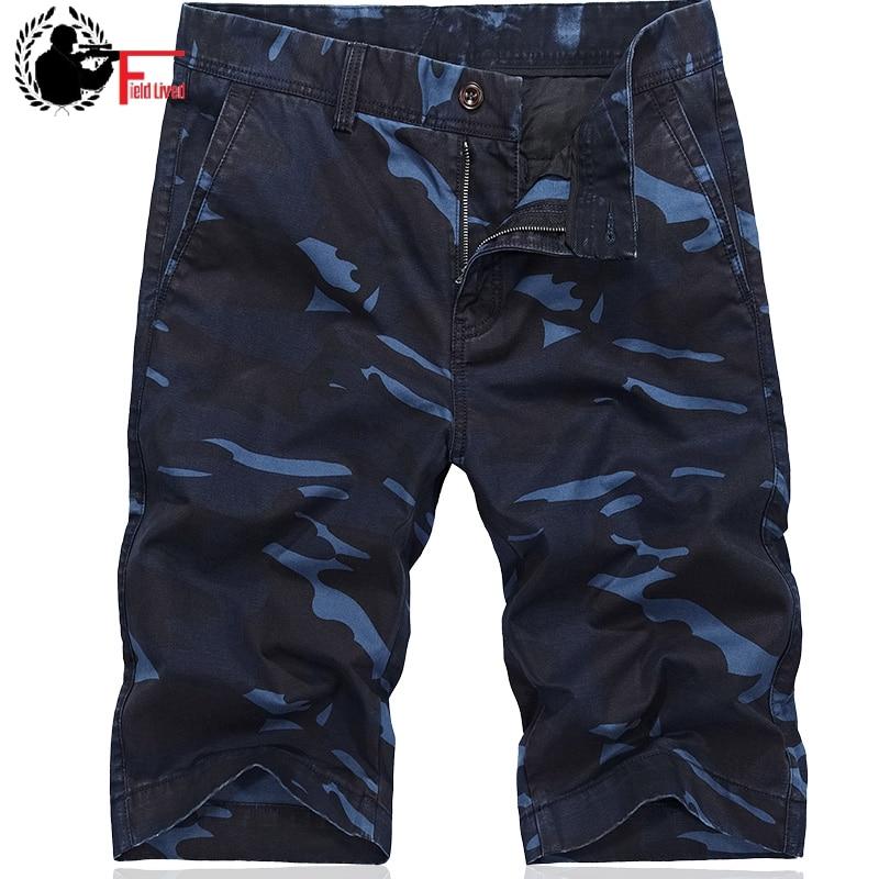 Cargo-Shorts Military Blue Camo Bermudas Breeches Men Male Casual-Style Straight Camouflage