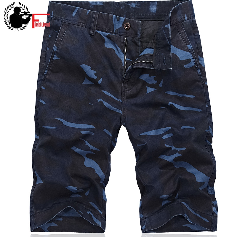 Mens Military Cargo   Shorts   Camouflage 2019 Casual Style Straight Cotton Breeches Men Blue Camo   Short   Pants Bermudas Male Size 42