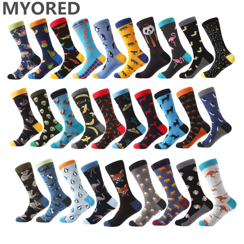 Myored New Mens Socks Women Animal Alien Chili Moustache Sloths Novelty Sock Combed Cotton Funny Socks Men's Big Size Crew Socks