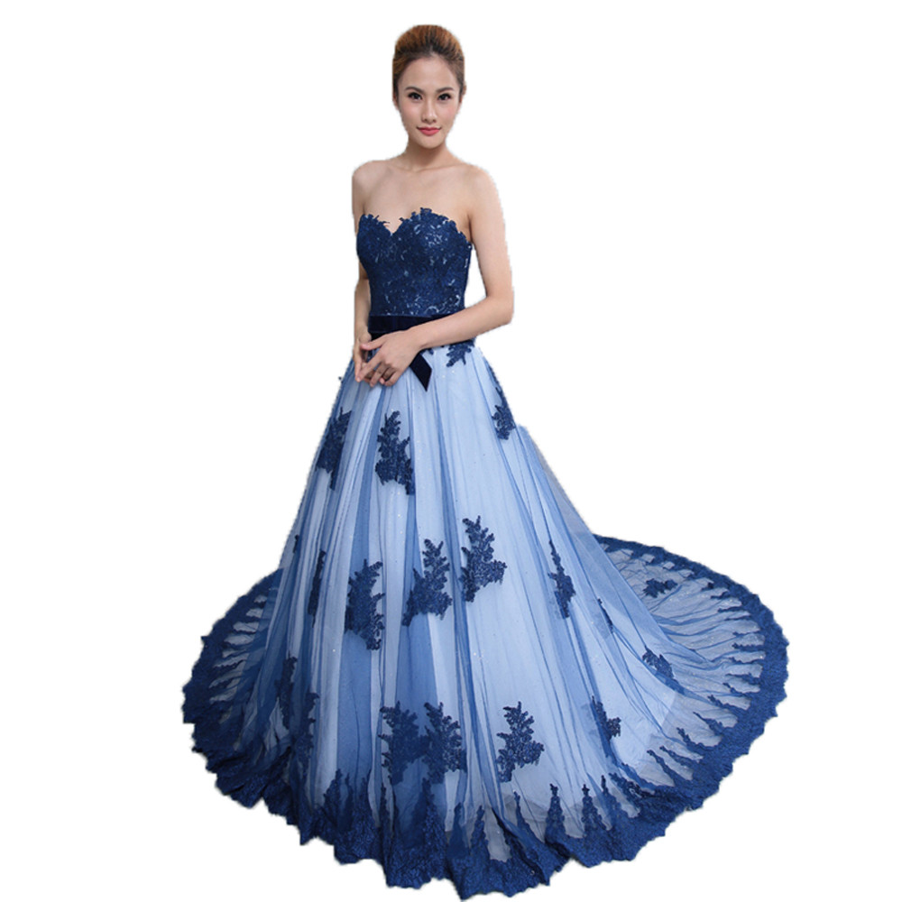 2016 New Royer Blue   evening     dress   Sweetheart Appliques Vestido de festa longo Prom   evening     dresses   for women