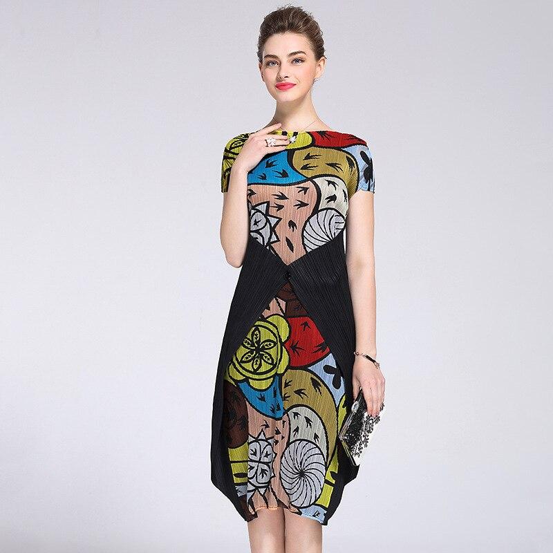 Vert De Gamme Imprimé Couleur Femmes D'été Et Fold Bouton Retour Haut Nouveau Européenne Station Style Robes Je multi Printemps Robe wBqUUX