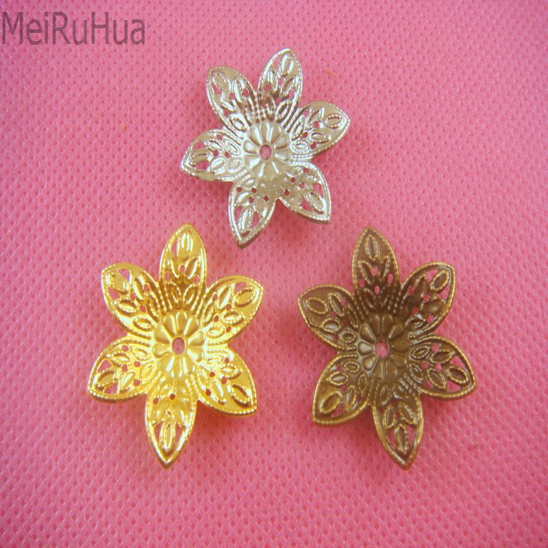 20 pcs/lot 2.7cm Metal Filigree Flowers Charms Setting Jewelry DIY Components Receptacle