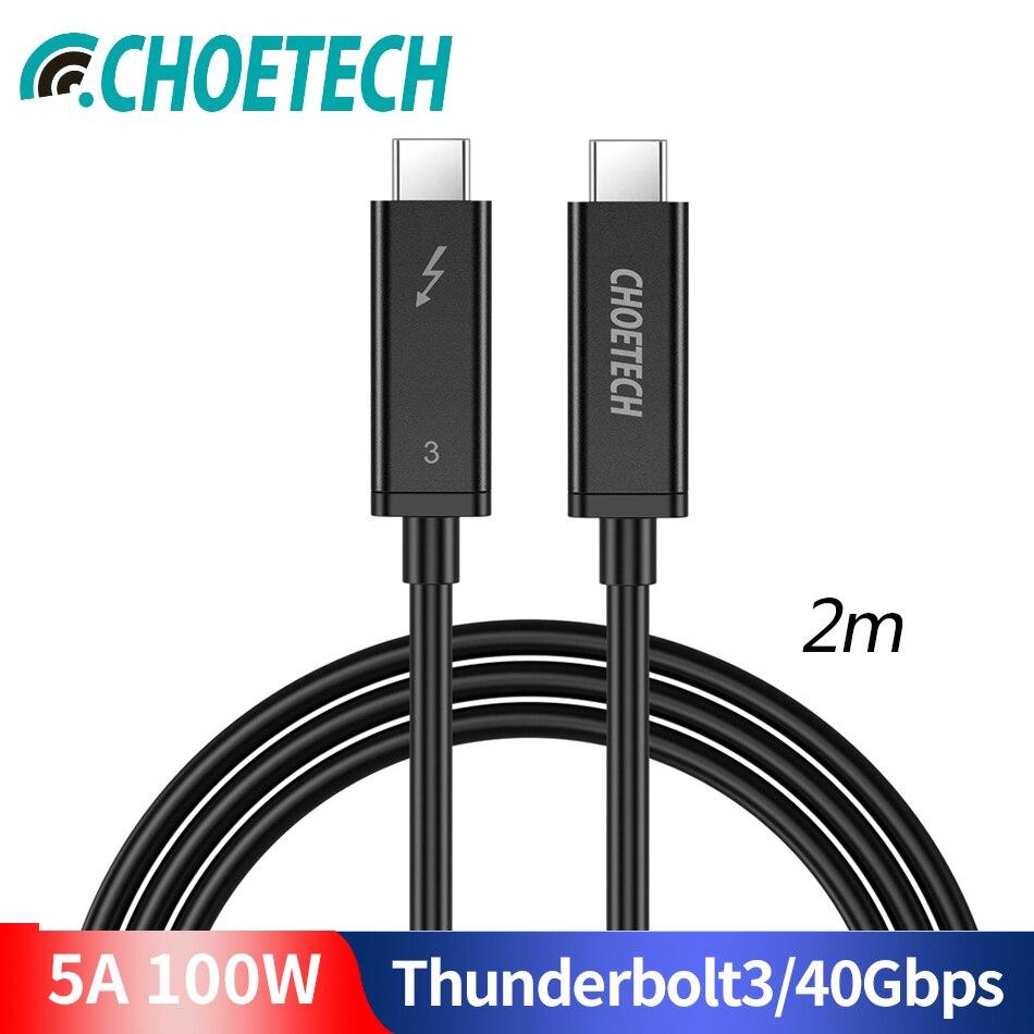CHOETECH Câble Thunderbolt 3 40gbps 100 W Support De Charge 5 K écran UHD 4 K 60 HZ USB type C Câble HDMI Pour 2016-2018 Macbook Pro