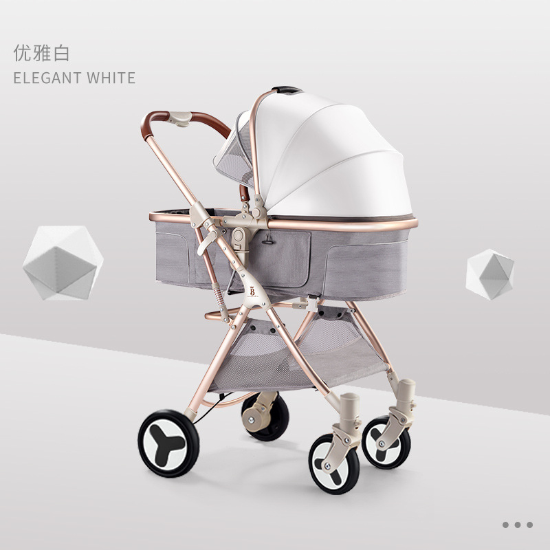 Baby Stroller High Landscape 6.8KG Ultra Light Baby Stroller Can Sit Reclining Foldable Stroller