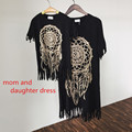 Octopus 2017 summer tassel skirt paternity Family Matching Outfits Mother And Daughter black wild fringed dress mommy and me