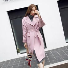 2016 Autumn Fashion Casual Women's Long Trench Coat Long Outerwear Loose Clothes For Lady High Quality Wiht Belt Pink Gray LY489