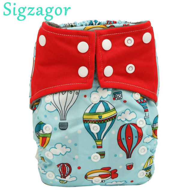Sigzagor 5 All In One Charcoal Bamboo Baby Cloth Diapers Nappies