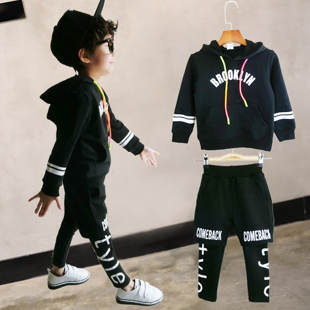 Children's clothing boys and girls spring suit two sets of new boys spring leisure children's sportswear children boys spring two suit children in 2016 two sets of new long sleeved sweater leisure tide