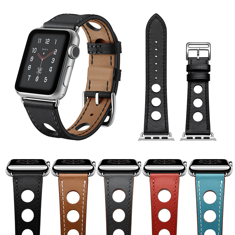 LEONIDAS Genuine Leather Single Tour for Apple Watch Band Single Tour Rallye Watch Strap for Apple Watch Bands 38mm And 42mm leonidas genuine leather double tour for apple watch band replacement extra long watch strap for apple watch bands 42mm and 38