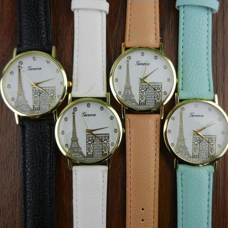 Women Eiffel Tower Printing Pattern Weaved Leather Quartz Dial Watch