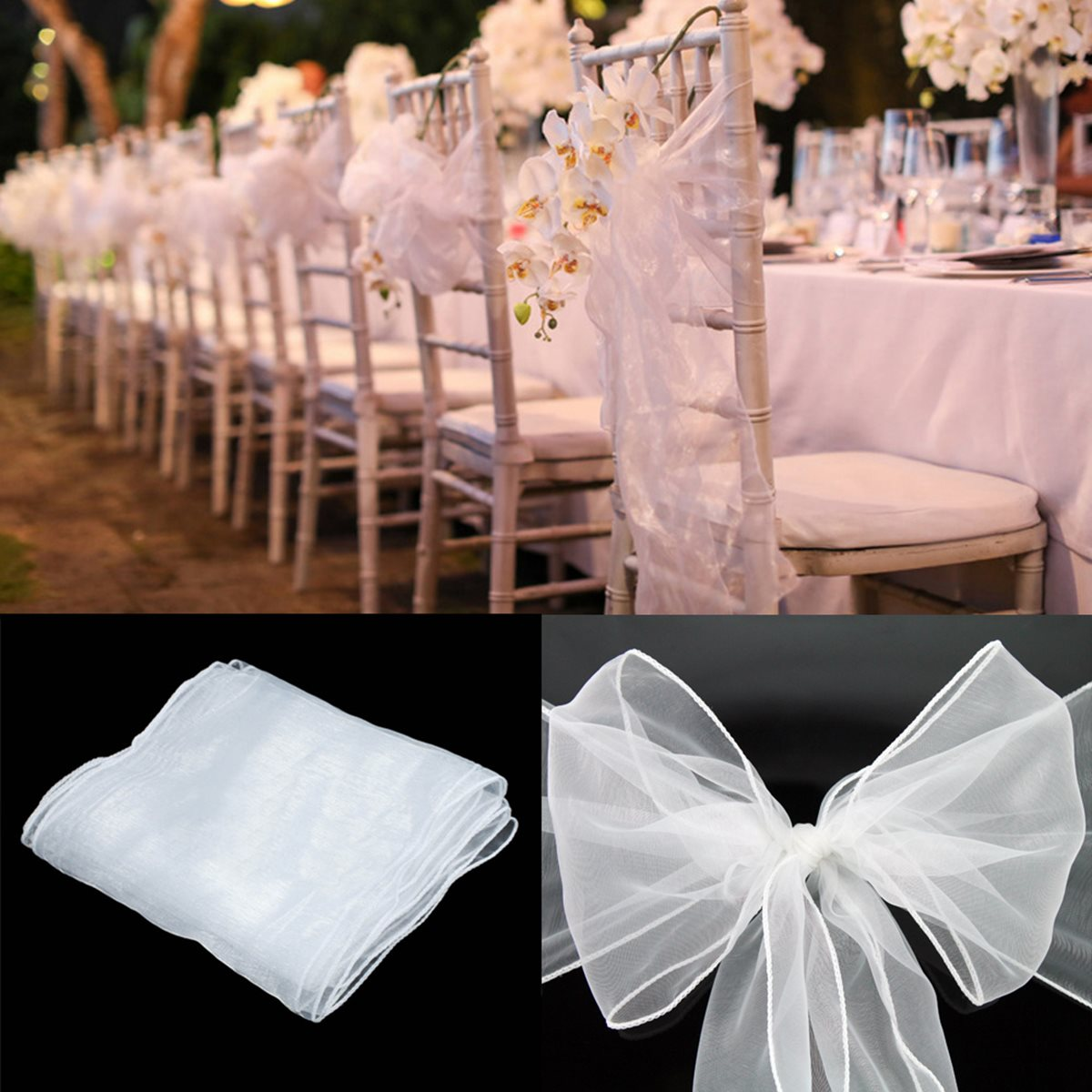 100pcs Lot Chair Sashes Organza 9 Color Cloth Cover Wedding Party