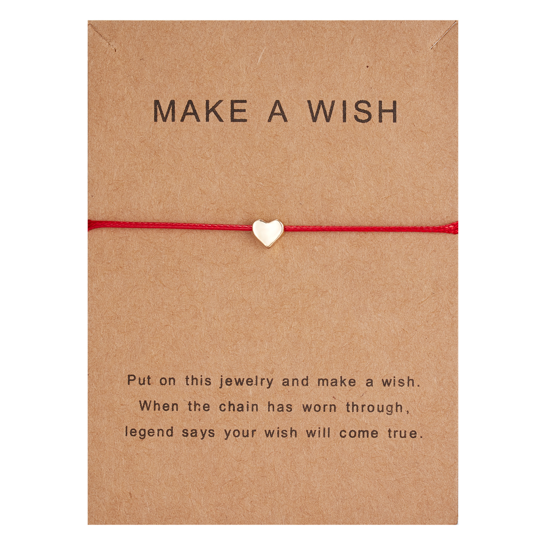10*7.5cm Make a Wish Papper Card Love Woven Adjustable Bracelet Fashion Jewelry Gift For Women,Men,Kids