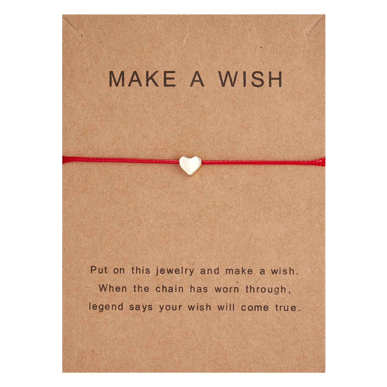 10*7.5cm fazer um desejo papper cartão amor tecido ajustável pulseira moda jóias presente para as mulheres, homens, crianças