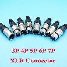 10 шт./лот, Штекерный разъем XLR 3P 4P 5P 6P 7P, гнездовой разъем для микрофона, 6 контактный разъем XLR, аудиоразъем