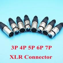 10 sztuk/partia 3 P 4 P 5 P 6 P 7 P XLR mężczyzna kobieta 6 pinów gniazda mikrofonowe złącze 7Pin Audio XLR złącza wtykowe