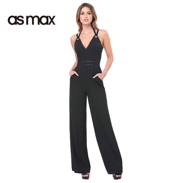 8d3720292537 asmax Women New Fashion Black Sexy V Neck Romper Casual Sleeveless High  Waist Jumpsuits Strap Halter