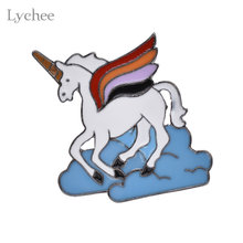 Lychee Cute Cartoon Unicorn Enamel Brooch Pin Animal Horse Badge Collar Lapel Pin Bag Jacket Decoration Jewelry(China)