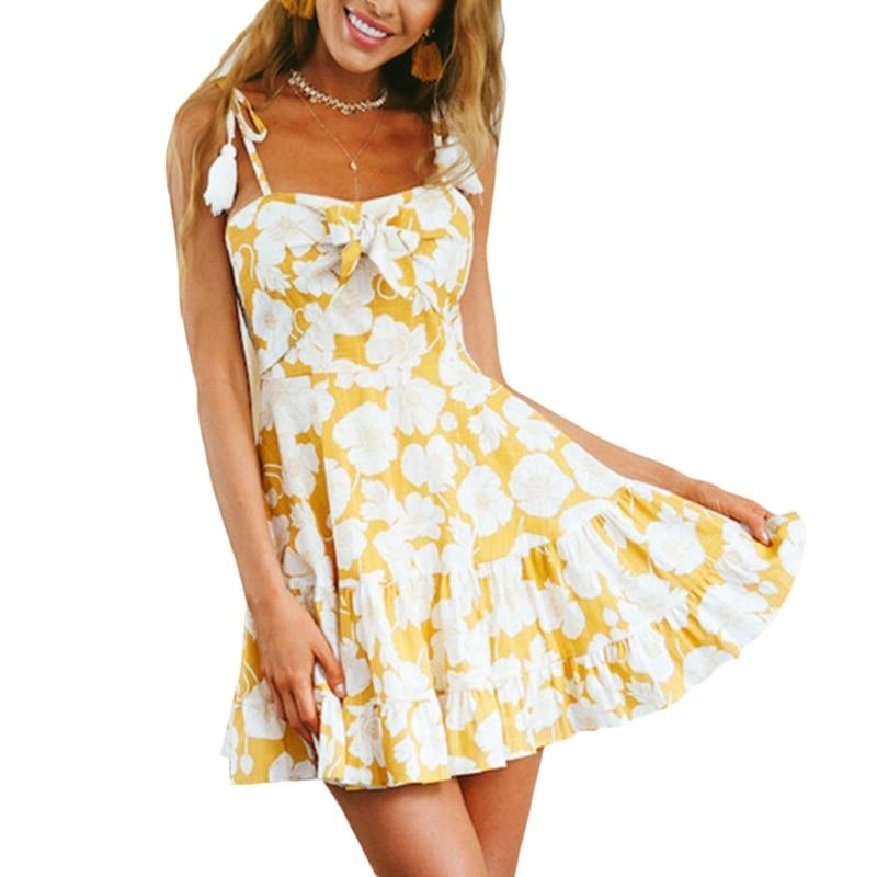 KLV Womens Tie Front Spaghetti Straps Summer Mini Dress Tassel Floral Print Casual