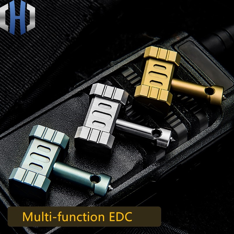 Titanium Alloy Hammer EDC Outdoor Multi-function Tool Self-defense With Tungsten Steel Head Man Pendant hammer shaped stainless steel multi function mini pocket toolkit with carrying pouch