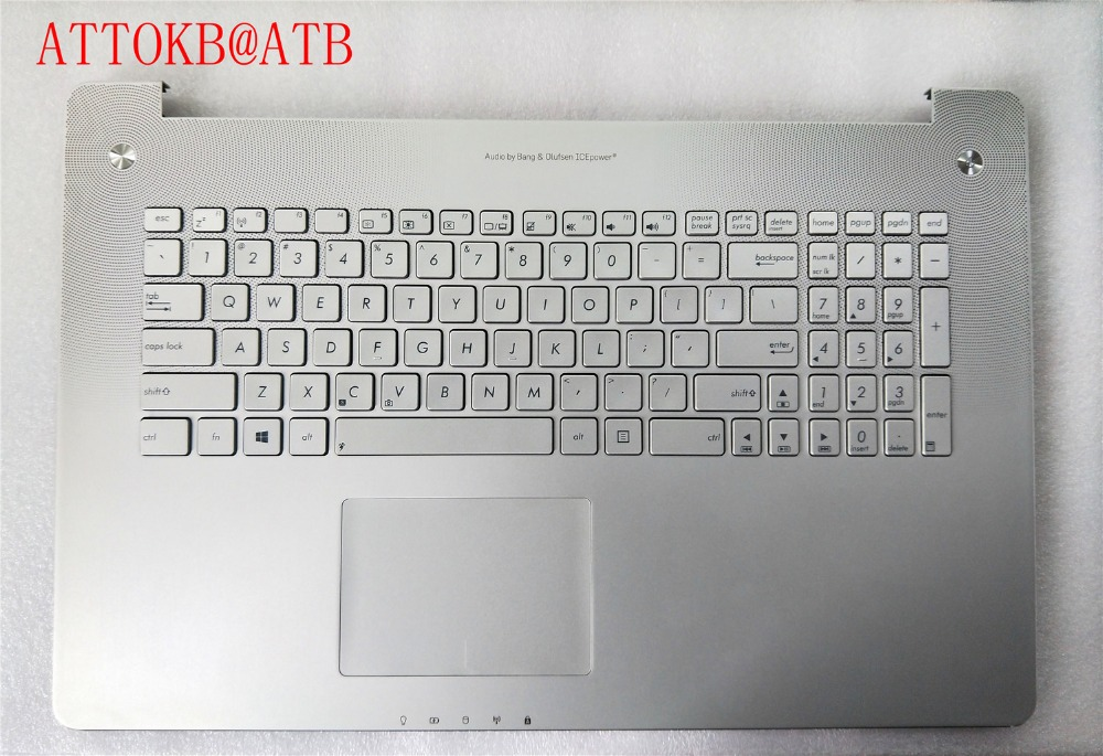 New English standard Laptop palmrest Keyboard for ASUS N750 N750J N750JV N750JK without backlight with cover