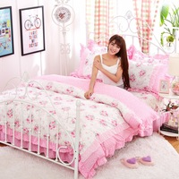 화이트 핑크 레이스 한국어 침구 세트 침대보 아름다운 공주 스타일 아이 여자 트윈 전체 퀸 킹 사이즈 침대 스커트 이불 커버