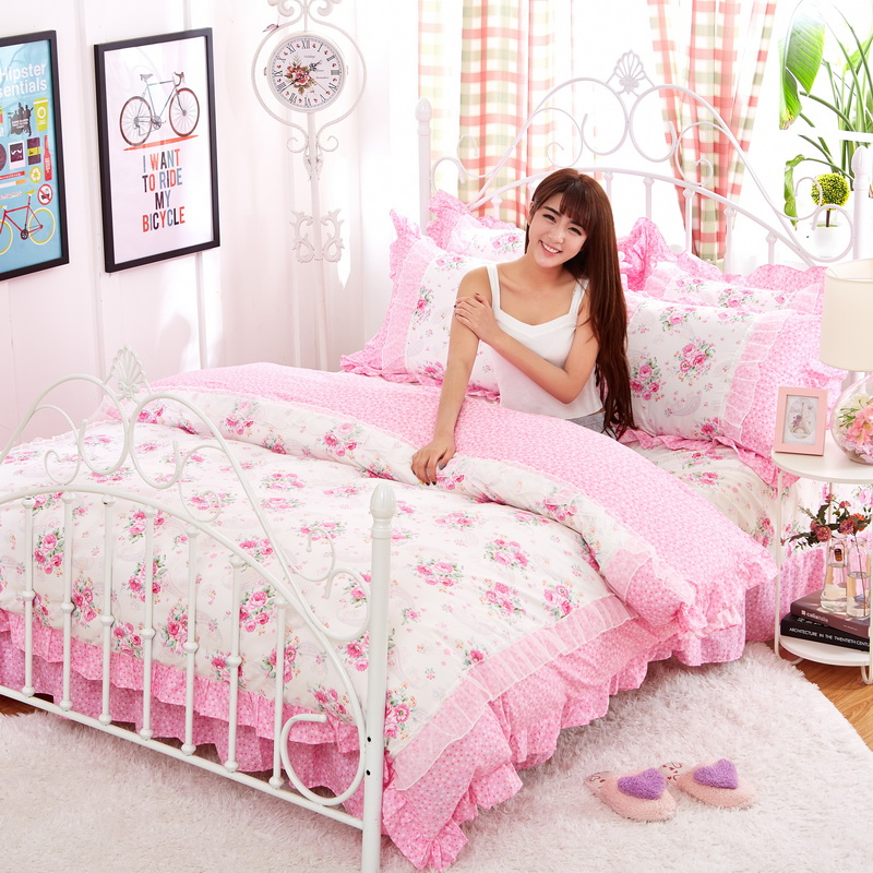 White pink Lace Korean bedding set bedspread beautiful princess style kid girls twin full queen king size bed skirt duvet covers