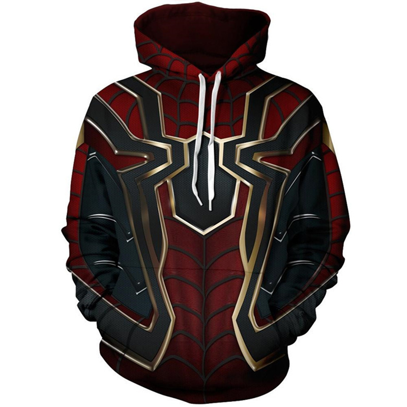 Iron Spider Man Hoodie Sweater Coat Spider-man Superhero Cosplay Costumes Thin Pullover Fashion Tops