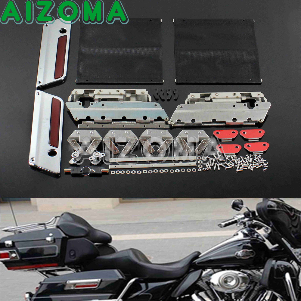 Chrome Latch Cover Replacement Deep Cut Hard Saddlebag Latches Cover Lock Hardware Kit For Harley Touring Road King 1993-2013 edge cut billet saddlebag latch cover harley touring hard bags 1993 2013 parts