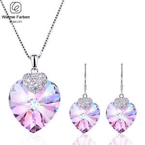 Amethyst Jewelry Set Real Crystal from Swarovski Heart Crystal Pendant Necklaces Drop Earrings Set For Girl Birthday Gift