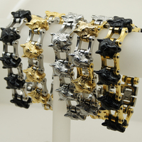 5 kleur zilver/goud/zwart cool & heavy 158g mannen/jongen wolf motorfiets biker rock 316L rvs ketting armband