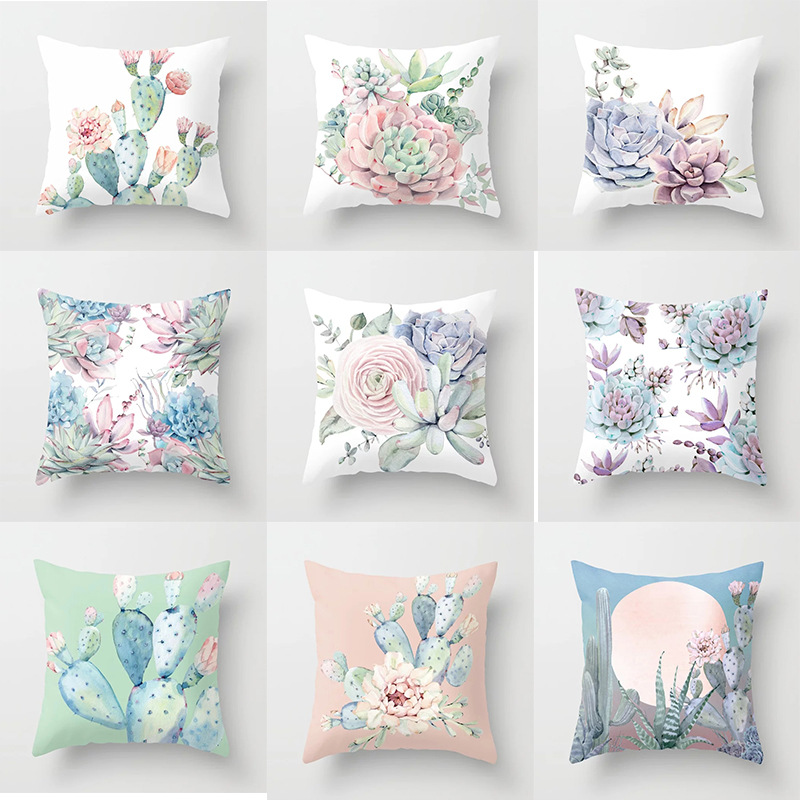 Meaty Throw Pillowcase Plant Pattern Printing Polyester Decoration Cactus Aloe Green Cushion Cover Bench Sofa Fluffy Pillow Case