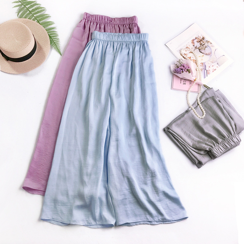 AcFirst New Spring Women Fashion Blue Purple Yellow Long Loose   Pants     Wide     Leg     Pants   High Waist Full Length Female   Pants