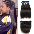 Brazilian Virgin Hair With Closure straight human hair 4pcs with full lace frontal closure with bundles hc hair With Closure