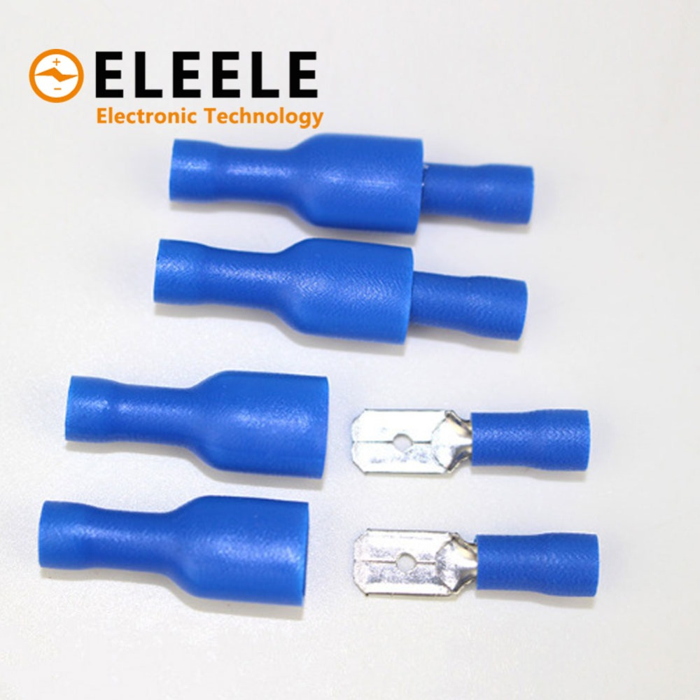 цена на 100pcs 50pairs 6.3mm 16-14AWG Female Male Electrical Wiring Connector Insulated Crimp Terminal Spade Blue FDFD2-250 MDD2-250