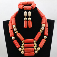 Top Quality Latest Beads and Jewellery Coral Bridal Necklace Set African Fashion Jewelry Sets For Women New CNR573