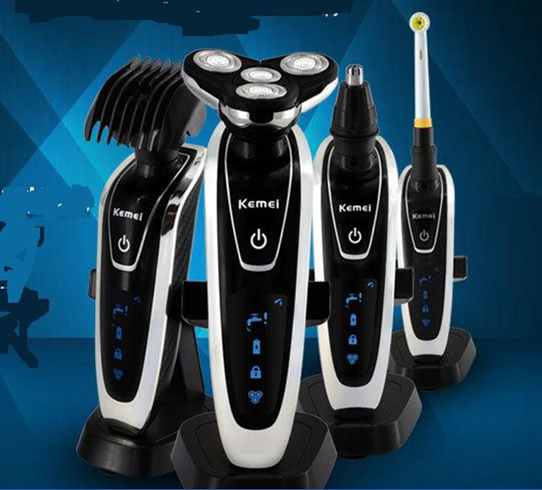 4 tête lavable hommes rasoir électrique Triple lame rasage rasoir moustache tondeuse homme barbe toilettage rasage nez cheveux tondeuse coupe