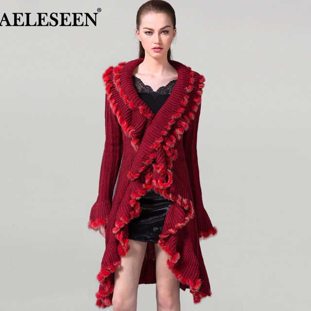 5182cfb358 Ladies Cardigans Sweater 2018 Winter Long Flare Sleeve Designer Tassel  Ruffles Lacing up V-neck Red Sexy Long Sweater