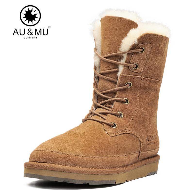 2017 AUMU Australia Classic Lace Up Mid Calf Flat Fur Round Toe Winter Snow Boots UG N7720 2017 aumu australia women fashion fur