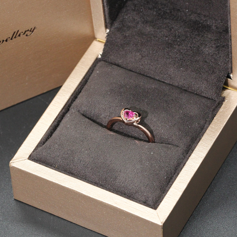 EDI Genuine 0 3ct Natural Ruby 585 14K Rose Gold Solitaire