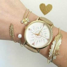 (None Watch) 11.11 HOT White Bead Peacock Chain & Link Bracelets Simple Geometric Leaf Knot Metal Bohemian Retro Bracelet(China)
