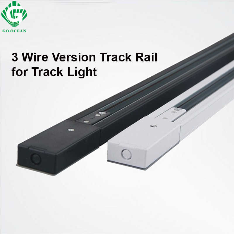 GO OCEAN Track Light 1meter Track Rail 3 Wires Spotlight Lamps Fixture on