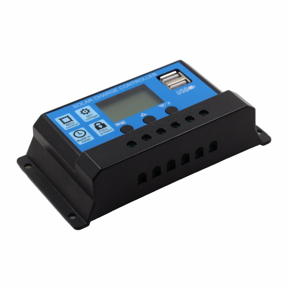 24V 12V Auto Panel Solar controlador de carga de batería 60A 50A 40A 30A 20A 10A LCD regulador de colector Solar con doble USB al por mayor