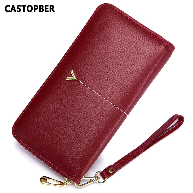 Designer Fashion Brand Cowhide Genuine Leather Women Day Clutch Wallets Luxury Ladies Long Zipper Ladies Wallet Purse Female Bag famous women luxury brand wallets genuine leather purse clutch ladies rivet pink wallet designer high quality long wallet thin