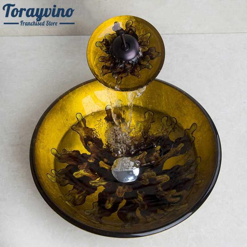 Torayvino phòng tắm Vàng Tranh Lưu Vực Rửa Bộ Lật Số Để Bàn Bát Tàu Kính Cường Lực Lá Sen Lưu Vực Bộ Vòi