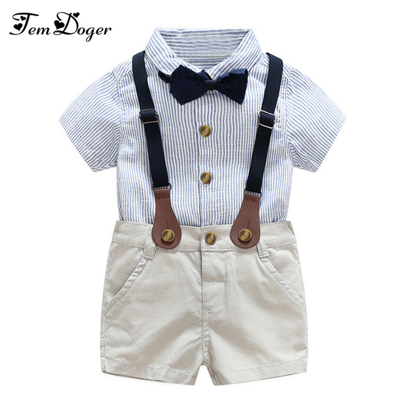 baby boy gentlemen 3pcs outfits sets 2017 summer newborn baby boy clothing sets tie shirt+overall infant clothes for party wear 1