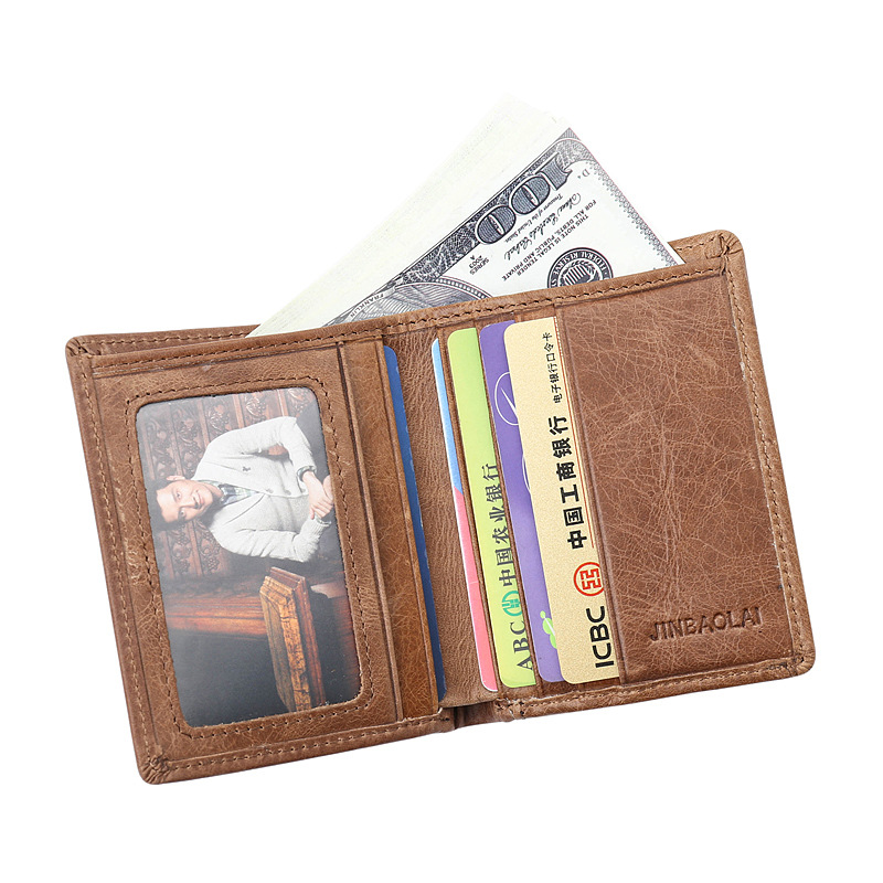 New Arrived Genuine leather man short Wallets Retro cowhide Brown Mens Wallets Credit Card Holder bag small purse for men