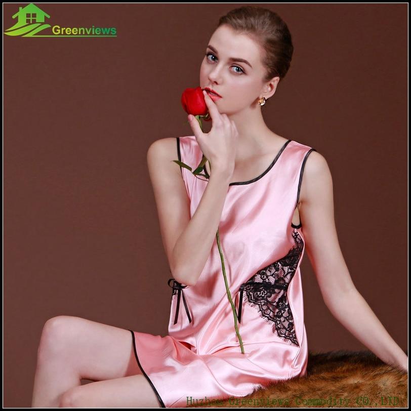 Home Dress Women Nighty With Lace Soft Lingerie Imitated Silk Fabric Robe  Dentelle Sleeveless Ladies Night Dress 4e181ddcf